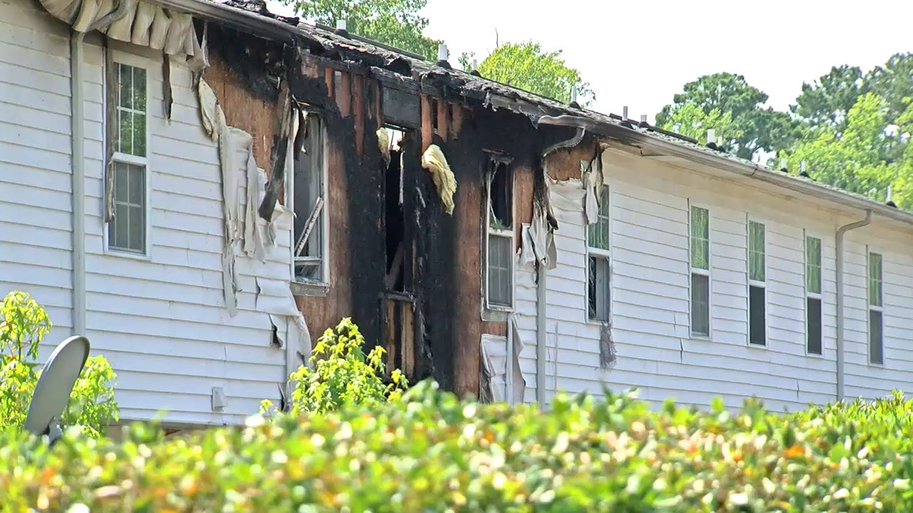 Tashakeisha Brown's home in the Lakeview Townhomes complex in Greenville went up in flames in late June. (Tyler Hardin, NewsChannel 12's photo)