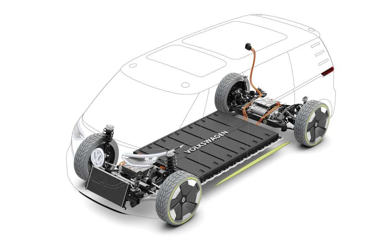 Modular electric drive kit (MEB) with two electric motors; lithium-ion battery integrated in the floor. Image via VW.