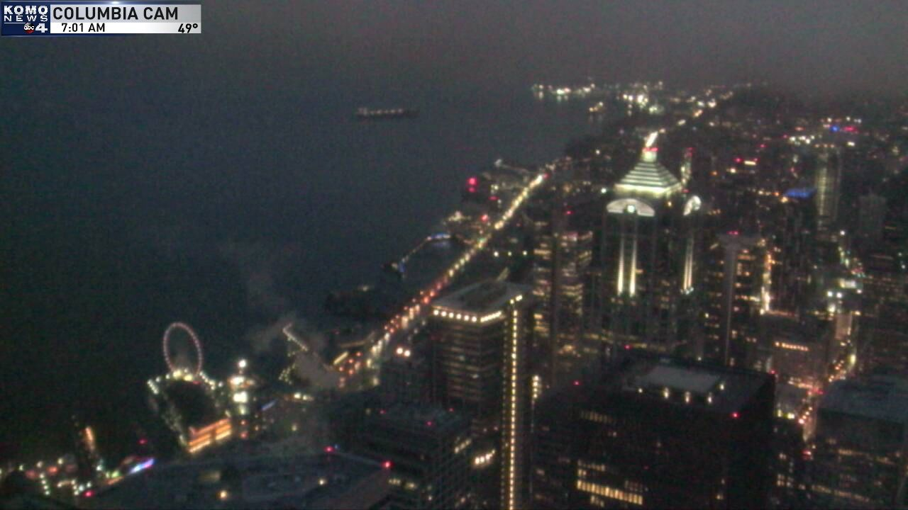 A rainy morning in Seattle on Nov. 19, 2019 as seen from KOMO's Columbia Tower Camera<p></p>