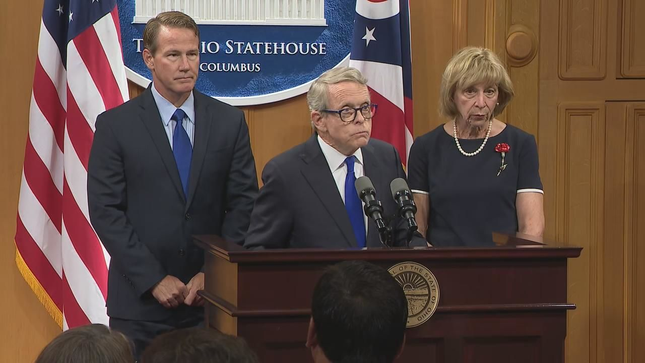 Ohio Gov. Mike DeWine (R) speaking at the Ohio Statehouse Tuesday Aug. 7, 2019 following the Dayton mass shooting that left nine people dead on Aug. 4, 2019. (WSYX/WTTE)