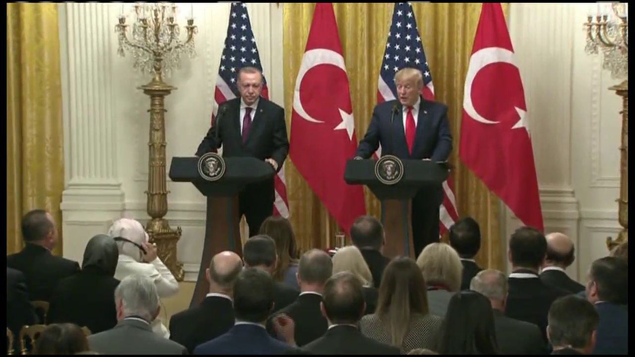 President Trump holds a press conference with Turkey's president (CNN Newsource)