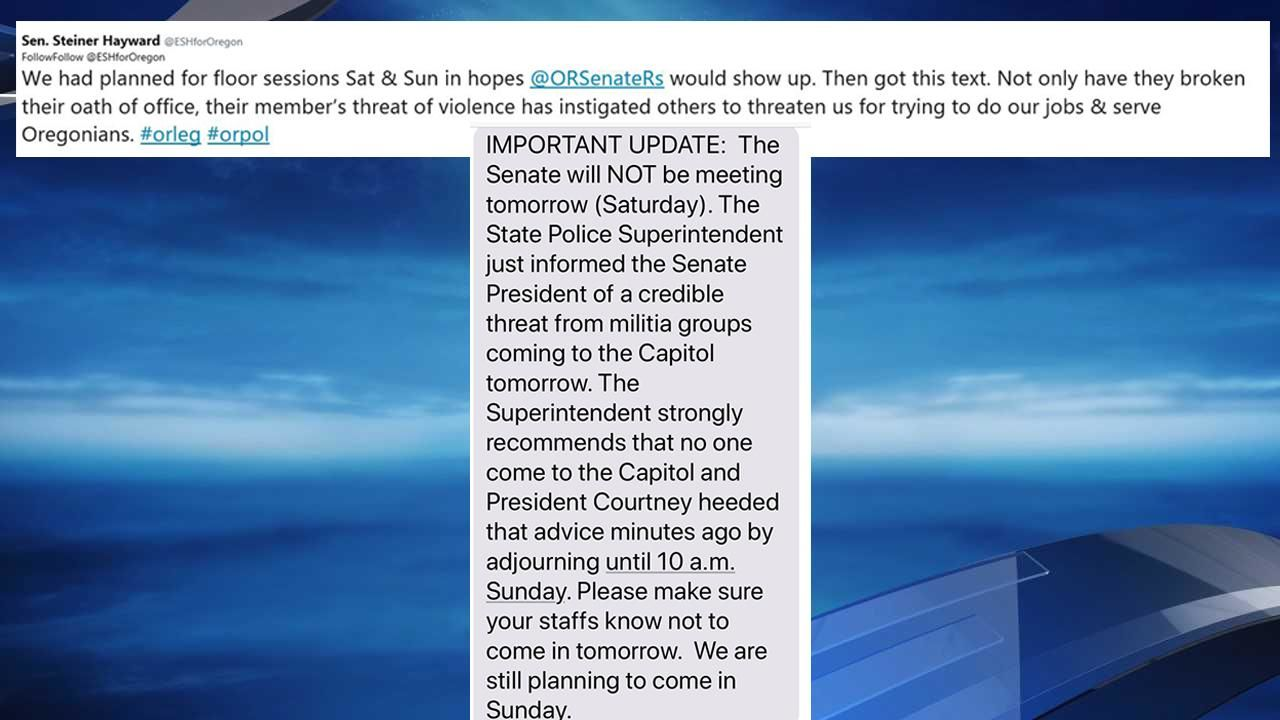 "Before she deleted it, KATU captured the tweet and the attached text message Sen. Elizabeth Steiner Hayward sent out Friday announcing the cancellation of a Saturday Senate session due to a ""credible"" threat militia groups would show up at the Capitol. (KATU Screen Captures)"
