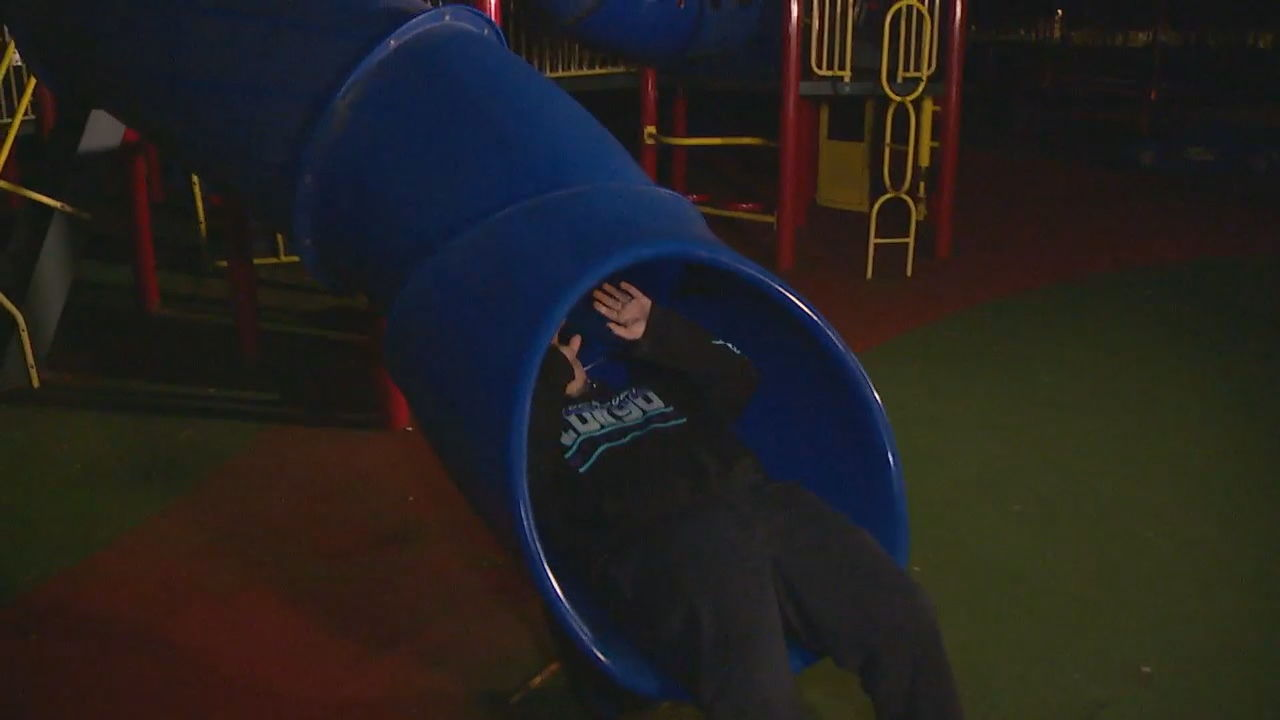A Washington teenager says he found child porn glued to the inside of a slide at a park in Puyallup, Washington. (Photo: KOMO)