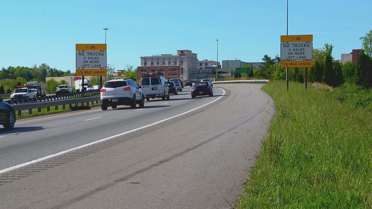 From March 20, when a lane restriction went into effect for part of Interstate 26, through the end of August, the highway patrol issued 241 citations to truck drivers. (Photo credit: WLOS staff)