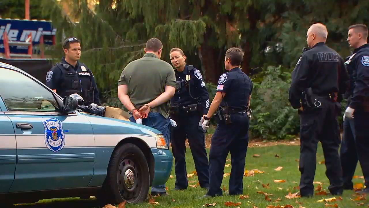 David Lee Morris is arrested, accused of murdering Gabrielle Garcia, 28, in Seattle Friday evening. (Photo: KOMO)