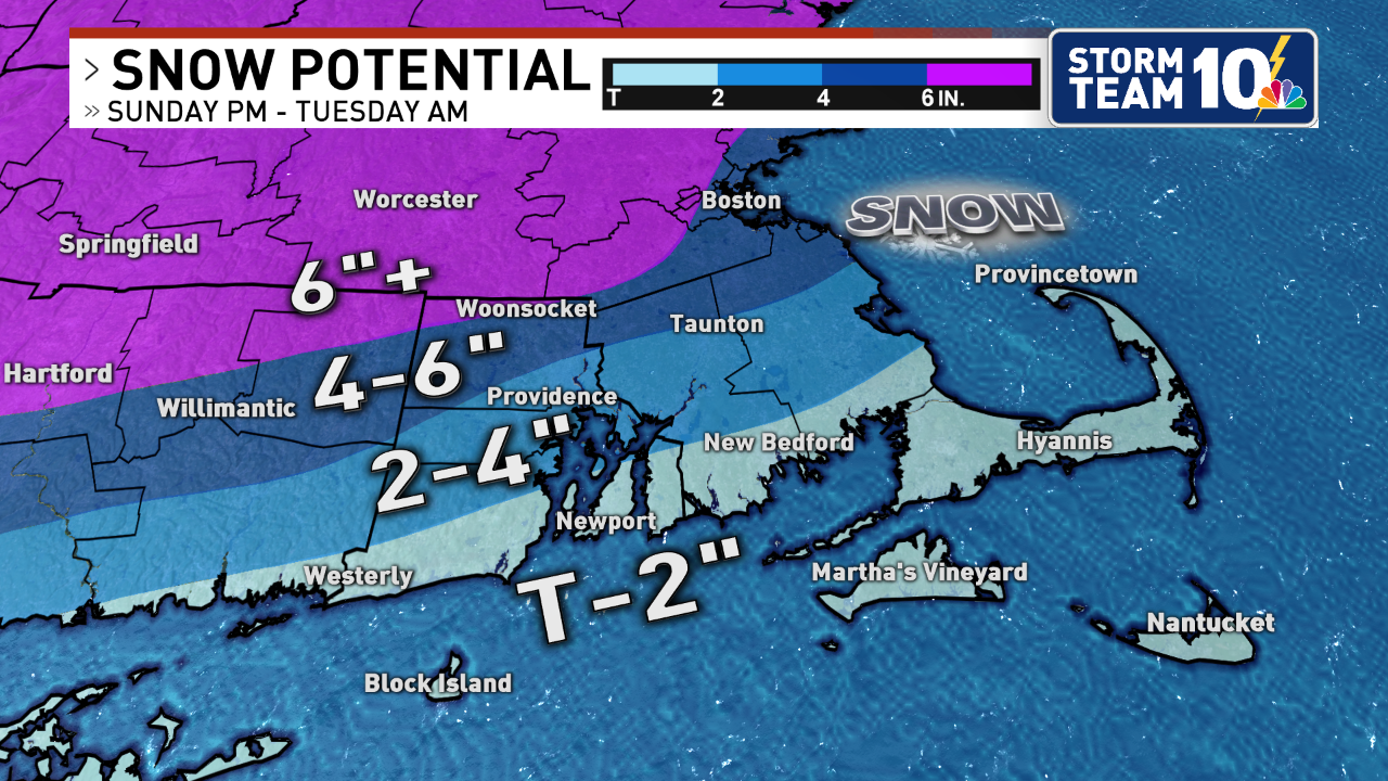 Snowfall Forecast Sunday afternoon through Tuesday morning