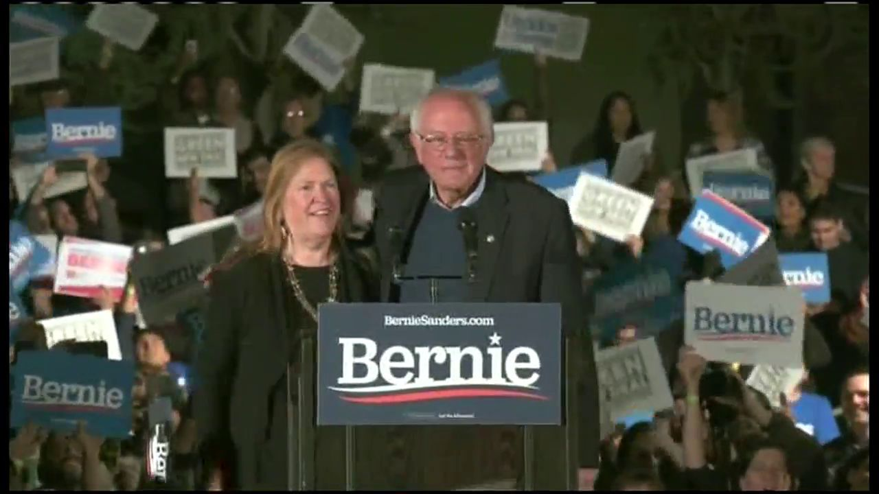 Bernie Sanders speaks at a rally in Fresno, California (CNN Newsource)