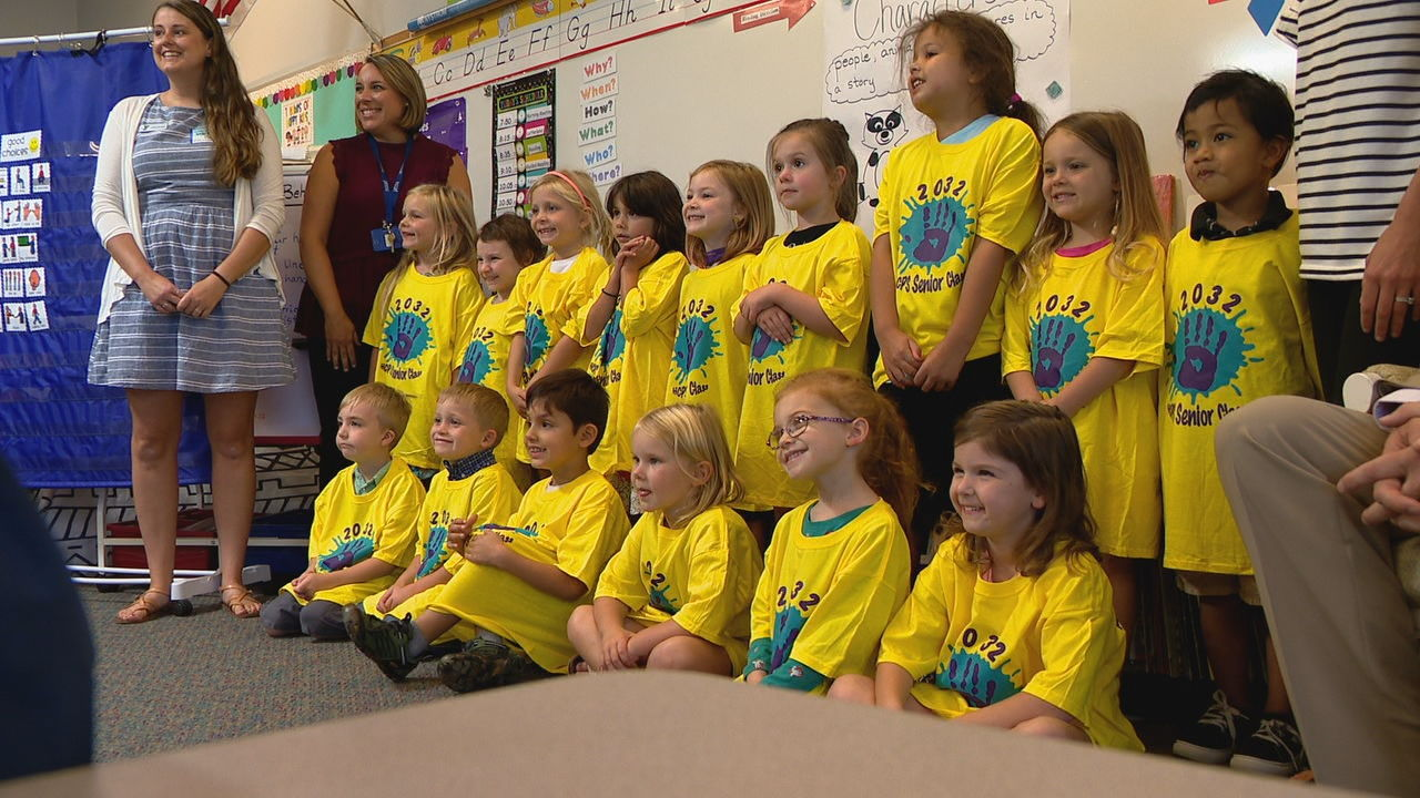 A group of students at Mills River Elementary School received some swag to start the new year: t-shirts for the Class of 2032. (Photo credit: WLOS staff)