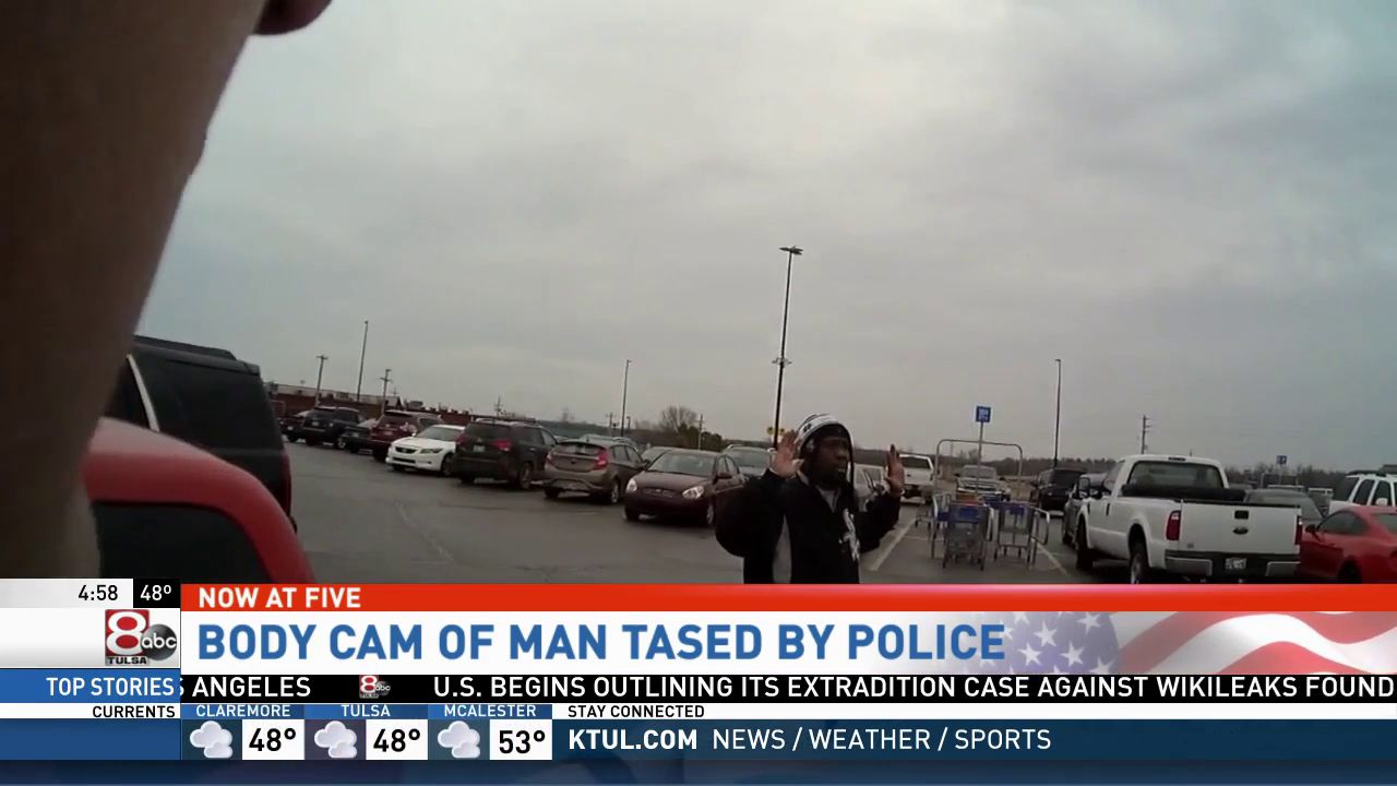 When Sand Springs police officers check on reports of a man casing cars in a Walmart parking lot, they arrived to find a customer pointing a gun at the suspect. (Sand Springs police)<p></p>