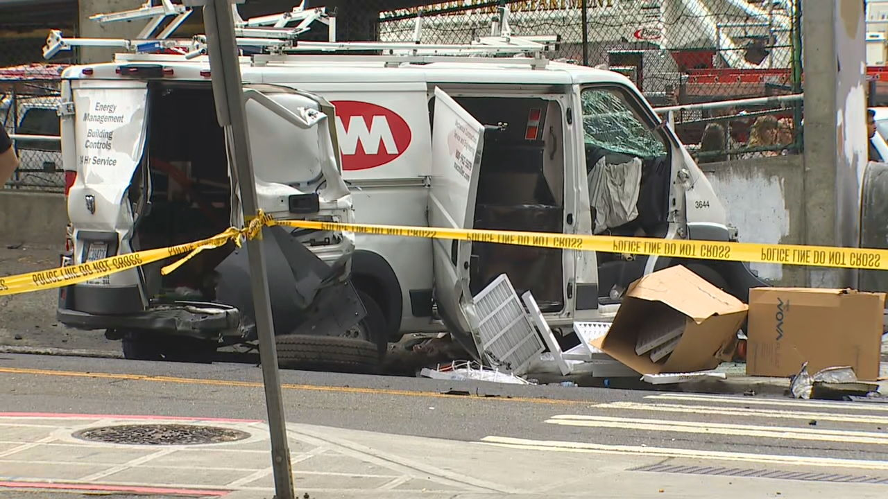 Careening dump truck leaves trail of destruction in Pioneer Square (KOMO News){ }
