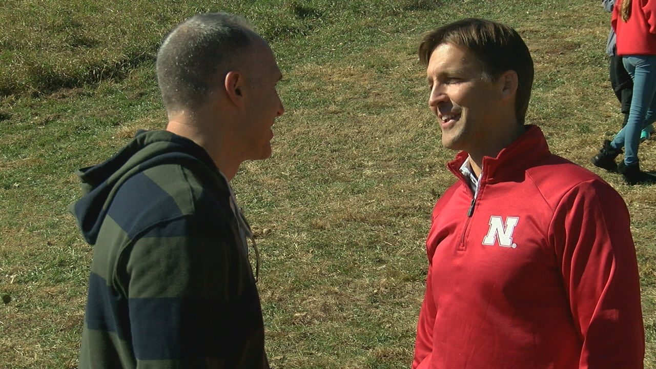 Sen. Sasse visits with people at the Nebraska state cross country meet in Kearney on October 19, 2018 (NTV News)