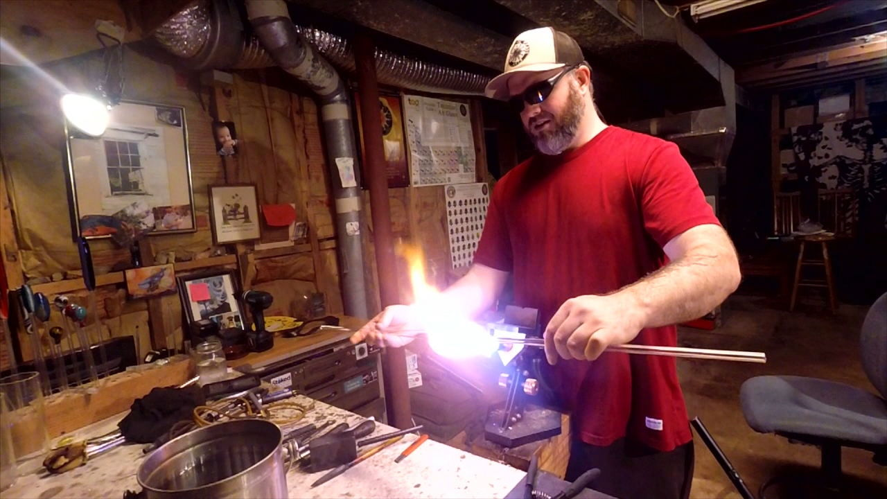In tonight's Carolina Moment, we meet glass blower Jonathon Rickert, who creates handmade drinking glasses with his imagination and fire. (Photo credit: WLOS staff)
