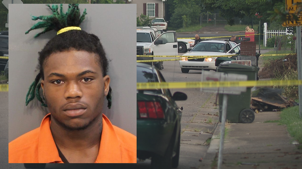 Chattanooga Police say they have arrested and charged 20-year-old Jeremy Sutton with criminal homicide in the deadly shooting on Portland Street early Monday morning. (Mugshot from Feb. 2019 arrest by HCSO, background image by WTVC)