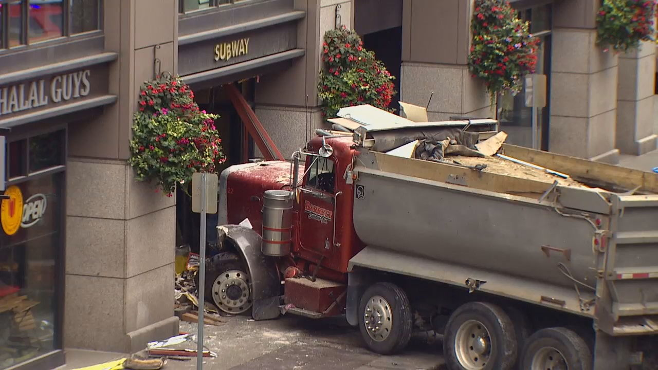 Careening dump truck leaves trail of destruction in Pioneer Square (KOMO News)