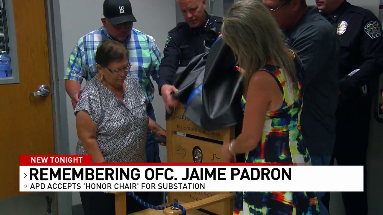 A fallen Austin police officer was recognized Tuesday for his sacrifice in the line of duty. The department accepted an 'honor chair' in remembrance of Senior Police Officer Jaime Padron. (CBS Austin)