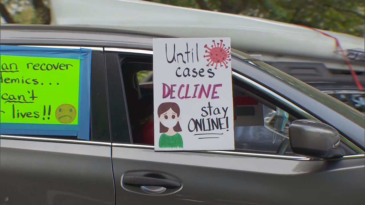 Teachers and parents drove around the state Capitol in Salem on Monday, July 27, 2020, asking that students not go back to the classroom until the coronavirus pandemic subsides. (KATU)