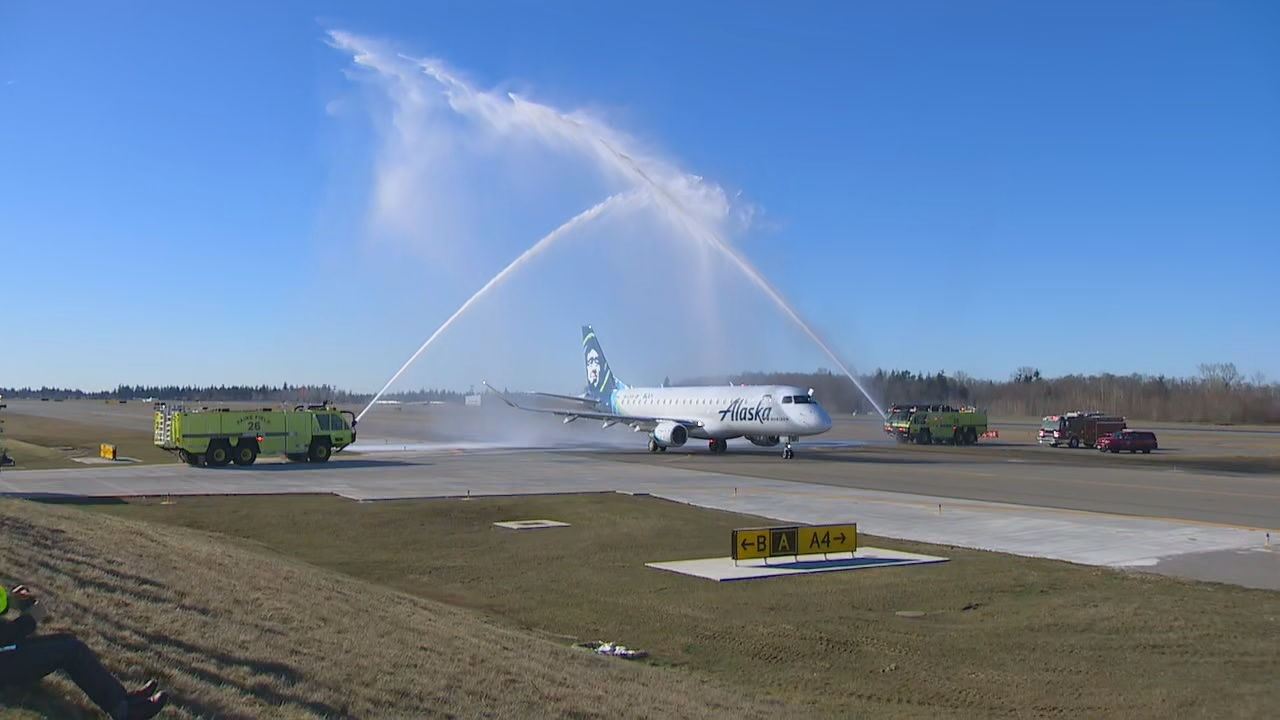 Inaugural commercial flight! Alaska Air Flight 2827 takes off from Everett's Paine Field for Portland (KOMO Photo)