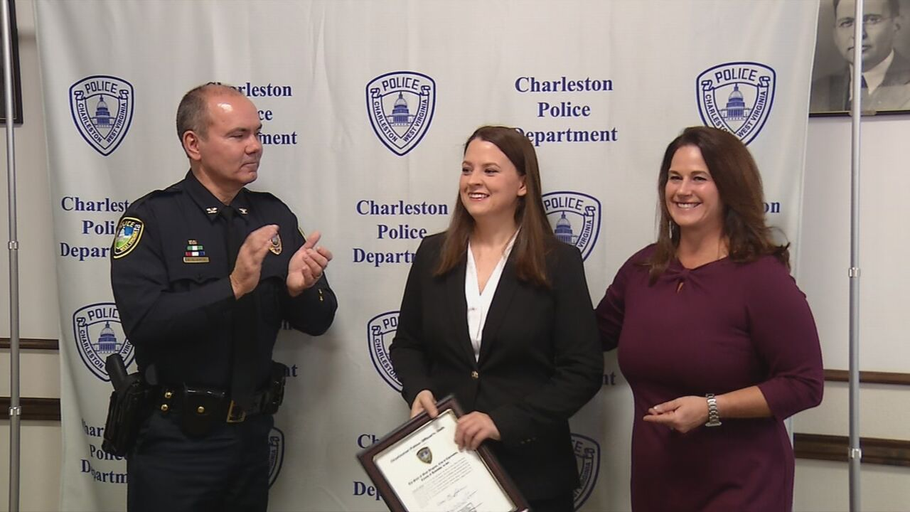 Ptl. Cassie Johnson was sworn in at the Charleston Police Department in January 2019. (WCHS/WVAH)