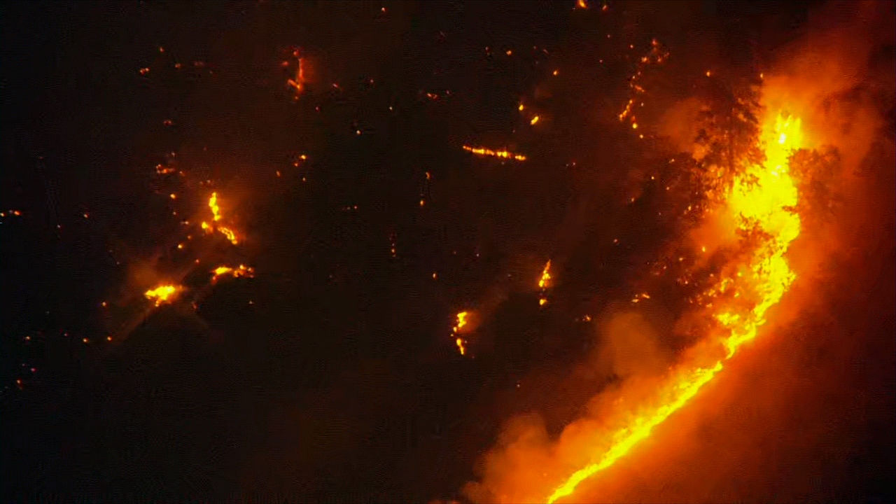 A 500-acre wildfire burns near Mosier, Oregon in the Columbia River Gorge late Wednesday night, Aug. 12, 2020. (KATU/Chopper 2)