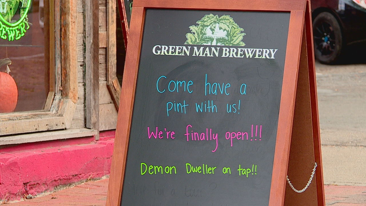 Green Man Brewery has opened a taproom at 10 Market St. in downtown Asheville, just a block from the Thomas Wolfe home. (Photo credit: WLOS staff)