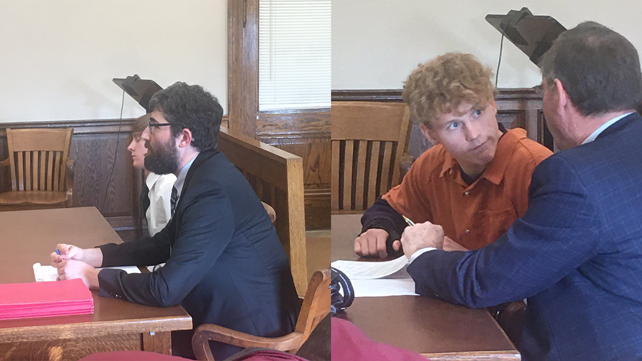 Jaden Churchheus (left) and Jordan Buckley pleading not guilty to charges relating to the death of Victoria Schafer in the Hocking Hills this past summer on Nov. 15, 2019. (WSYX/WTTE)
