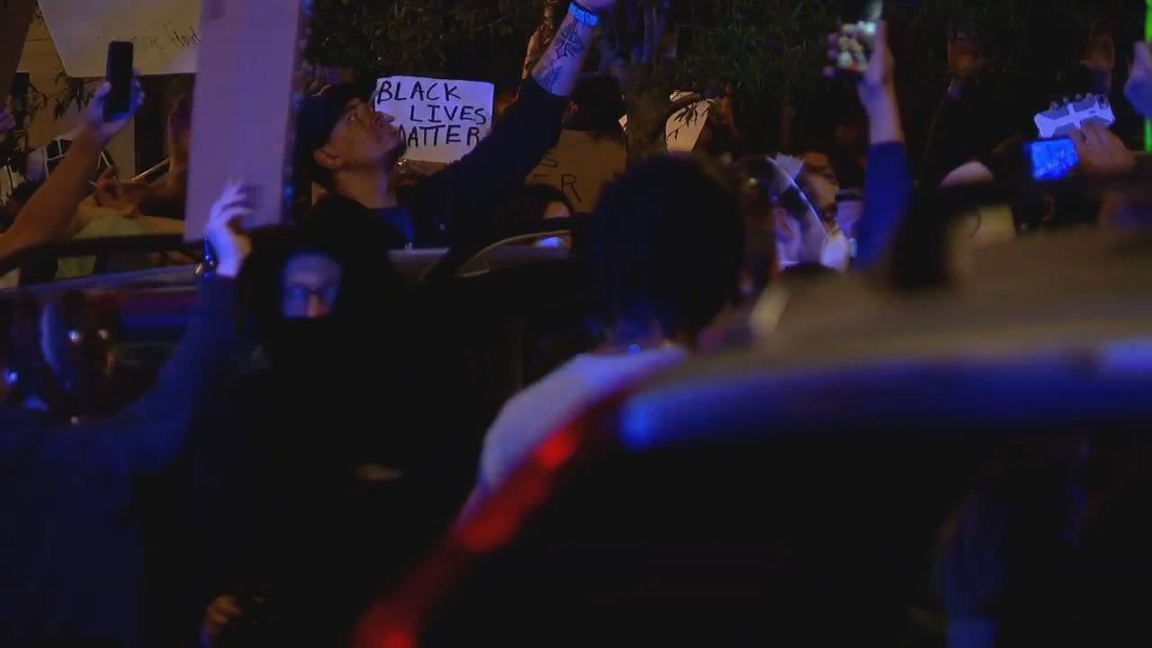 Demonstrators protest in downtown Asheville, North Carolina, on May 31, 2020, following the killing of George Floyd. (Photo credit: WLOS Staff)