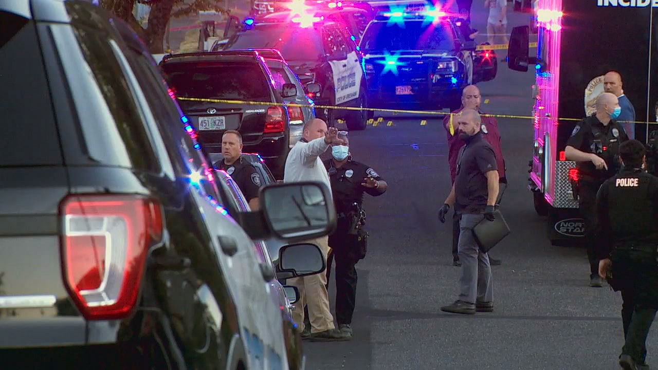 Police in Gresham investigate a shooting Wednesday night, Aug. 5, 2020 that left two children wounded. (KATU)