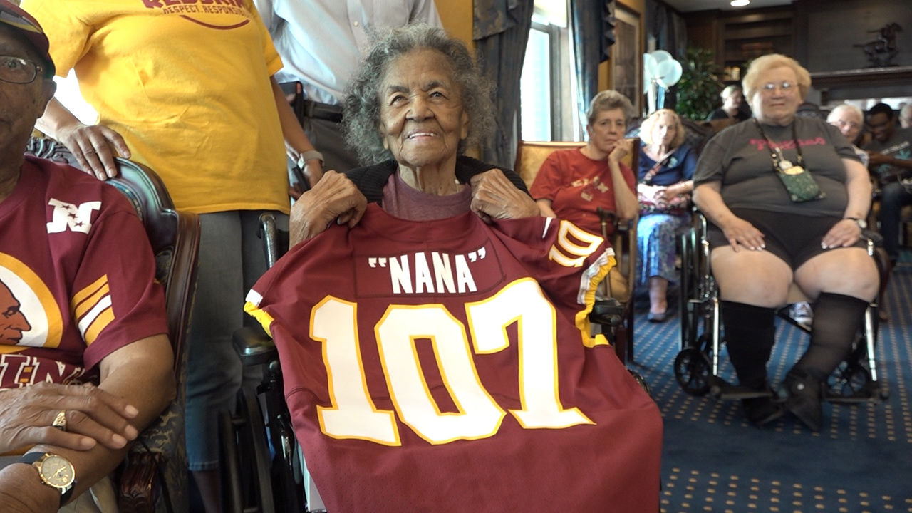 <p>107-year-old Carletha West, who is referred to as Nana, has been a Redskins fan her entire life. Thursday, as she celebrated another milestone, the Redskins team helped to celebrate her life and thank her for being a lifelong fan. (Caroline Patrickis/ABC7)</p>