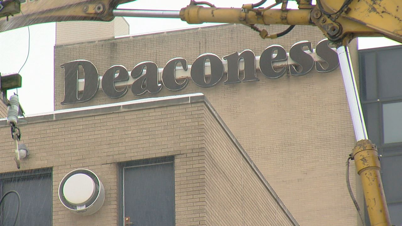 Former Deaconess Hospital is being demoished for a new mixed use development (WKRC)