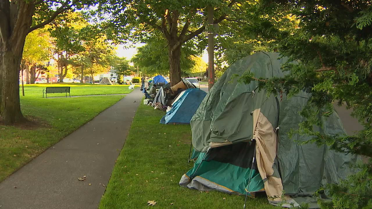 Tents are pitched in a Tacoma park (KOMO photo)