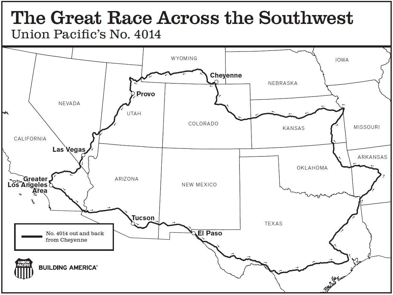 Map of the Great Race Across the Southwest for Big Boy. (Courtesy of Union Pacific)
