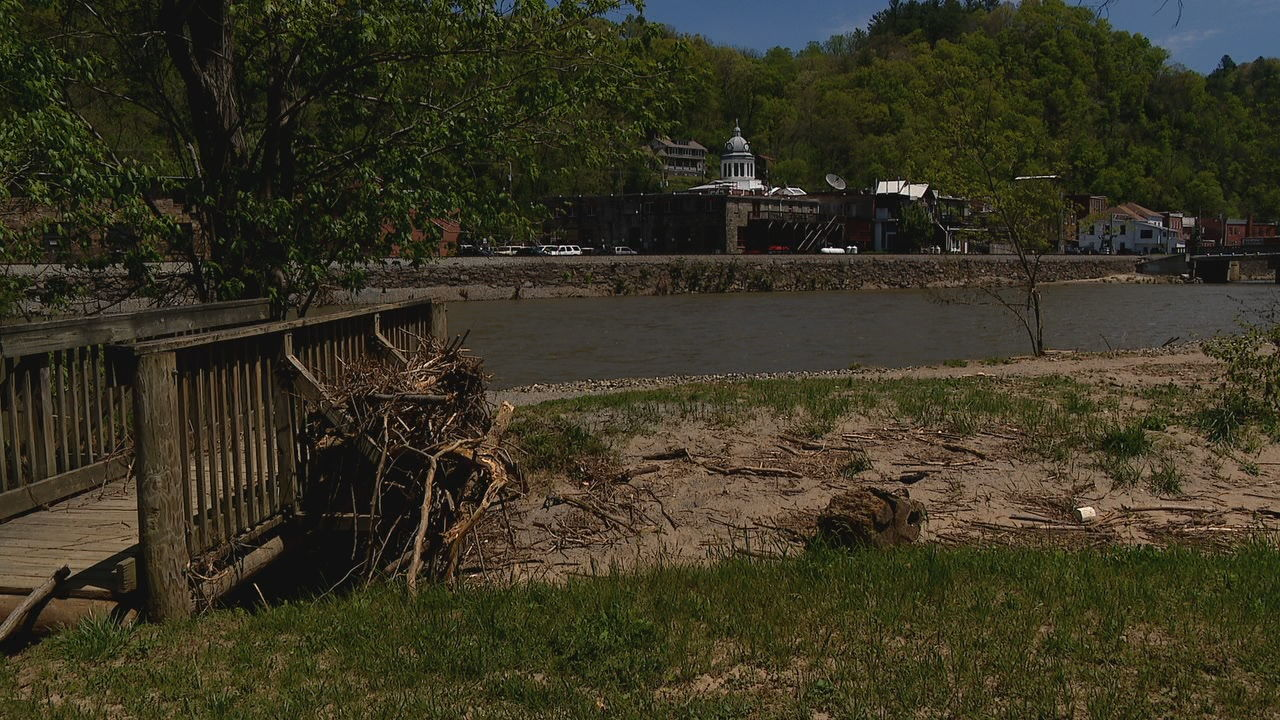 The town of Marshall is asking the state for money to help repair the damage from last's weeks flood. (Photo credit: WLOS staff)