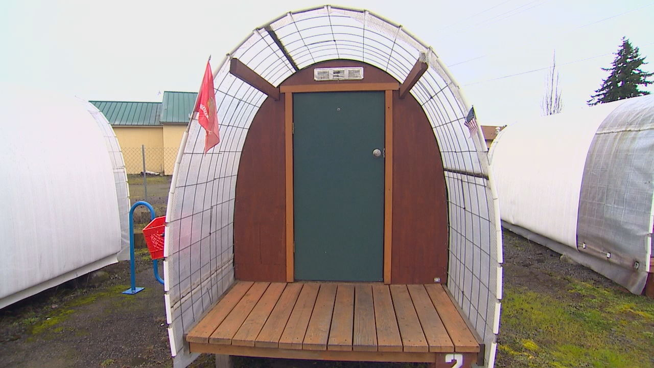 Conestoga Huts for the homeless (KOMO Photo)