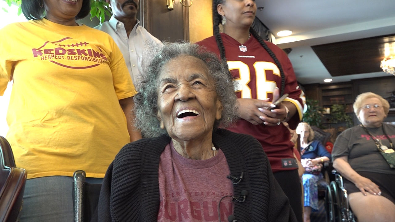 107-year-old Carletha West, who is referred to as Nana, has been a Redskins fan her entire life. Thursday, as she celebrated another milestone, the Redskins team helped to celebrate her life and thank her for being a lifelong fan. (Caroline Patrickis/ABC7)