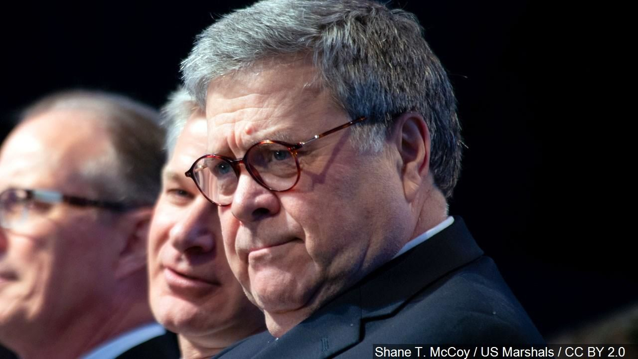 FILE - William Barr, United States Attorney General, Photo Date: May 14, 2019 (Cropped Photo: Shane T. McCoy / US Marshals / CC BY 2.0 via MGN Online)