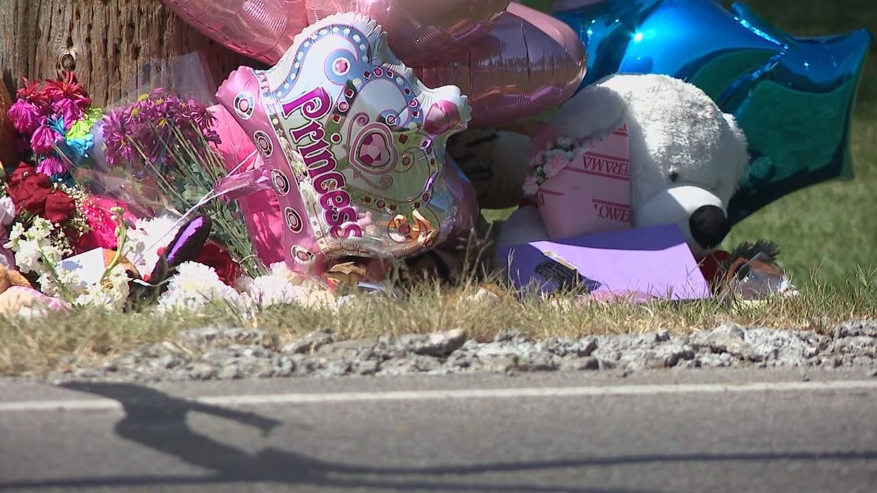A memorial has grown near where 11-year-old Elizabeth (Lizzy) Rutland was struck and killed the morning of September 18th, while trying to cross the road to get to her school bus stop (WSYX/WTTE)