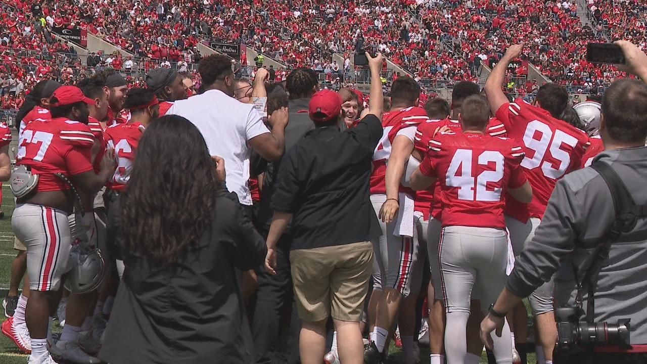 Ohio State punter Drue Chrisman proposing to girlfriend Avery Eliason during halftime of the Ohio State Spring Game April 13, 2019. (WSYX/WTTE)