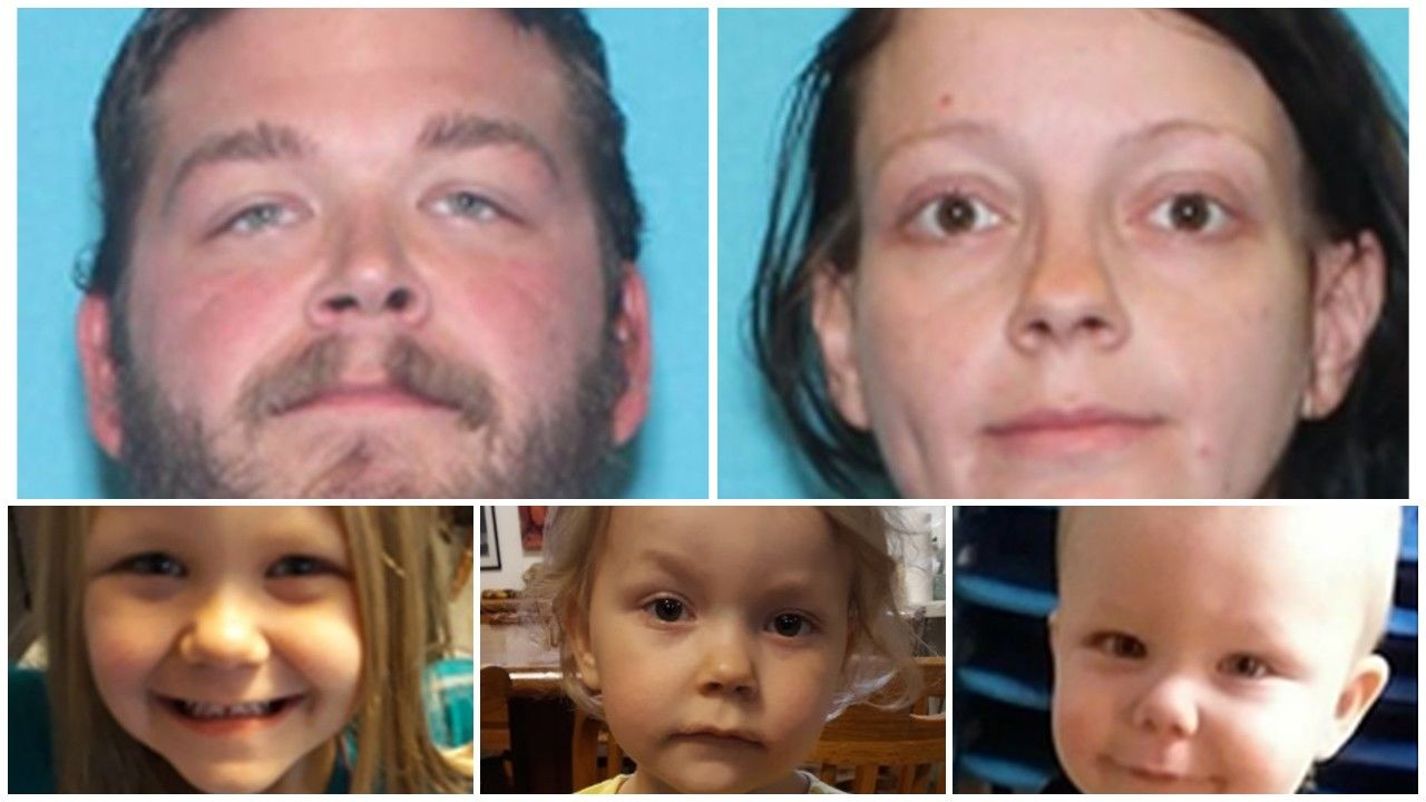 <p>The agency said Thursday that two girls, ages 3 and 5, and a 1-year-old boy are believed to be in life-threatening danger because their parents have a history of drug use and violence. The parents are identified as 28-year-old Tony Demontigny and 30-year-old Ellaura Wright. Photo: Great Falls Police Dept.</p>