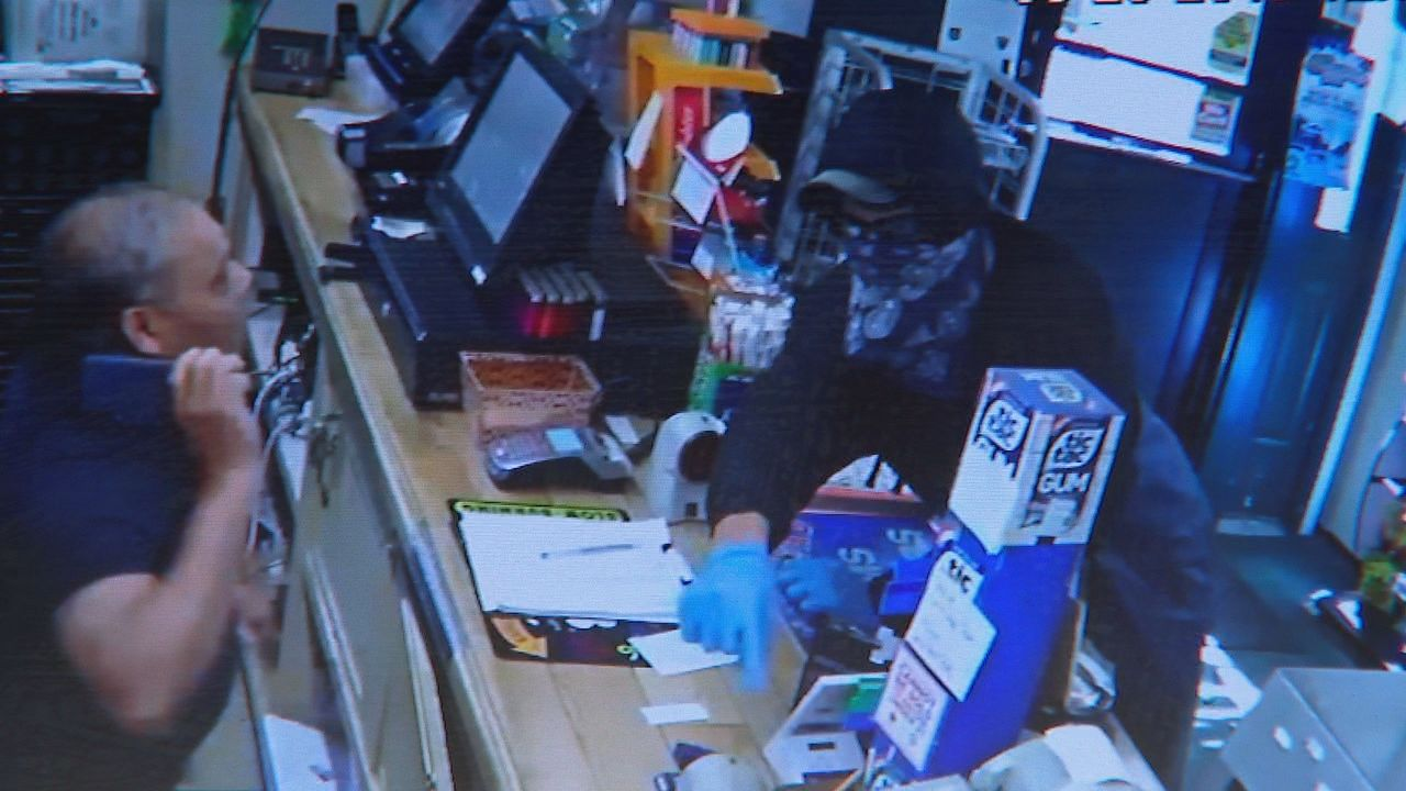 A suspect is on the run after a store in Bowdoin was robbed at knife point Sunday afternoon