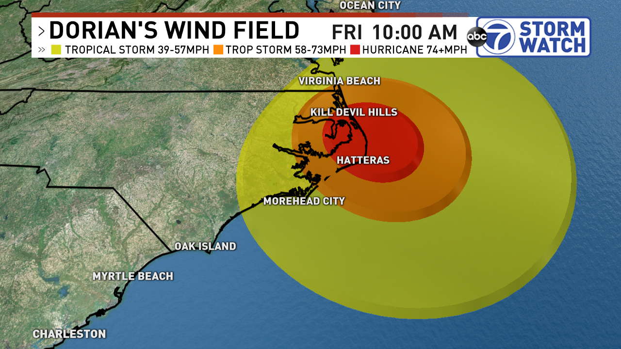 Extent of Tropical Storm and Hurricane Force Winds by Friday morning