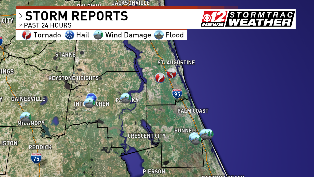 Storm reports continue to come in after a round of early morning storms produced tornadoes and strong winds across northern Florida Saturday morning. (WPEC)