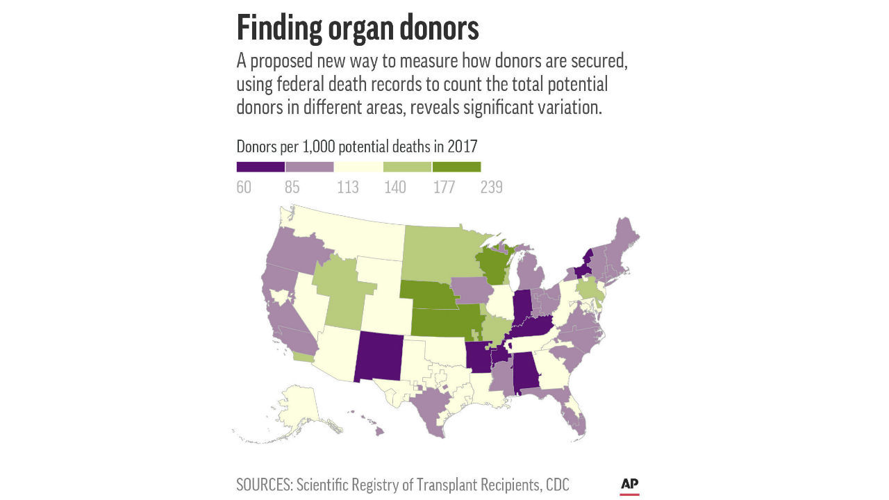 Chart shows the rate at which all organ procurement organizations excluding Puerto Rico's secured deceased donors in 2017 (AP)