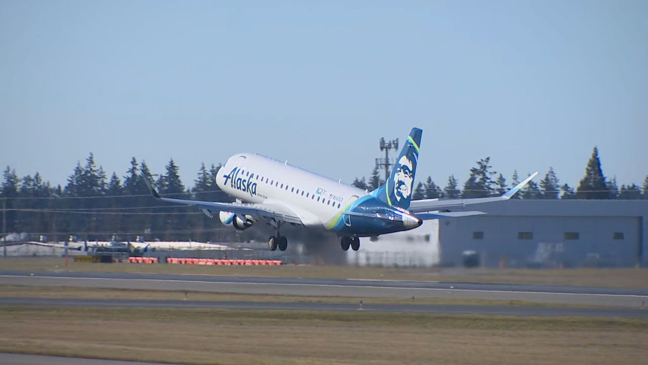 Inaugural commercial flight! Alaska Air Flight 2827 takes off from Everett's Paine Field for Portland (KOMO Photo){ }