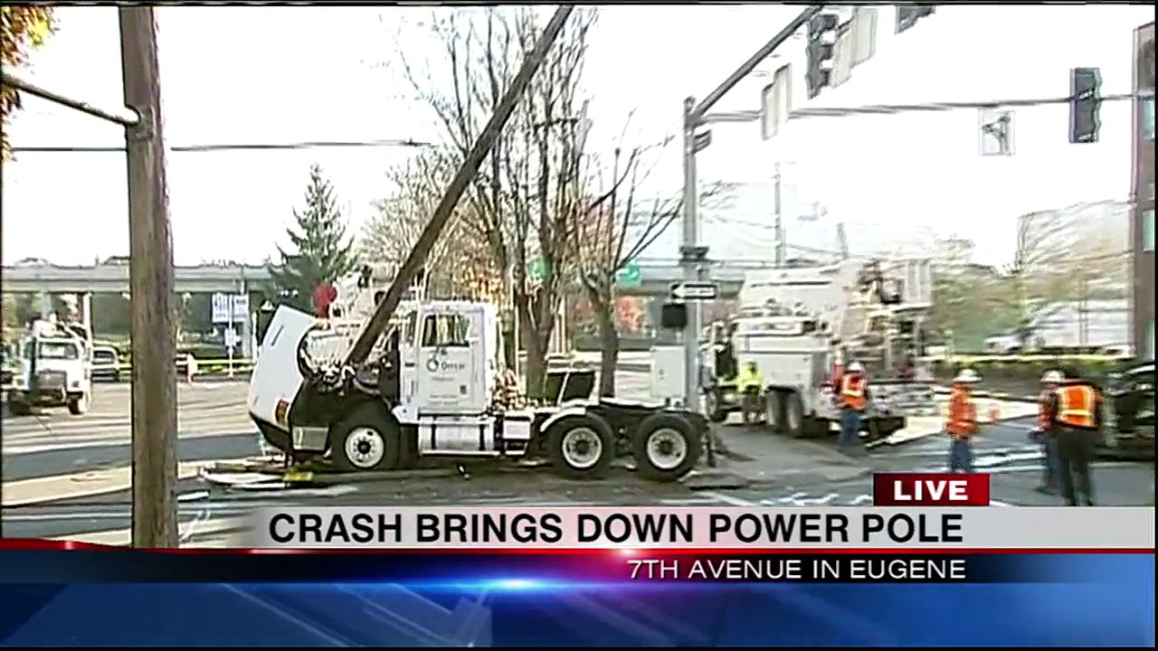 A crash in downtown Eugene sent one person to the hospital and brought down a utility pole Thursday morning. (SBG)