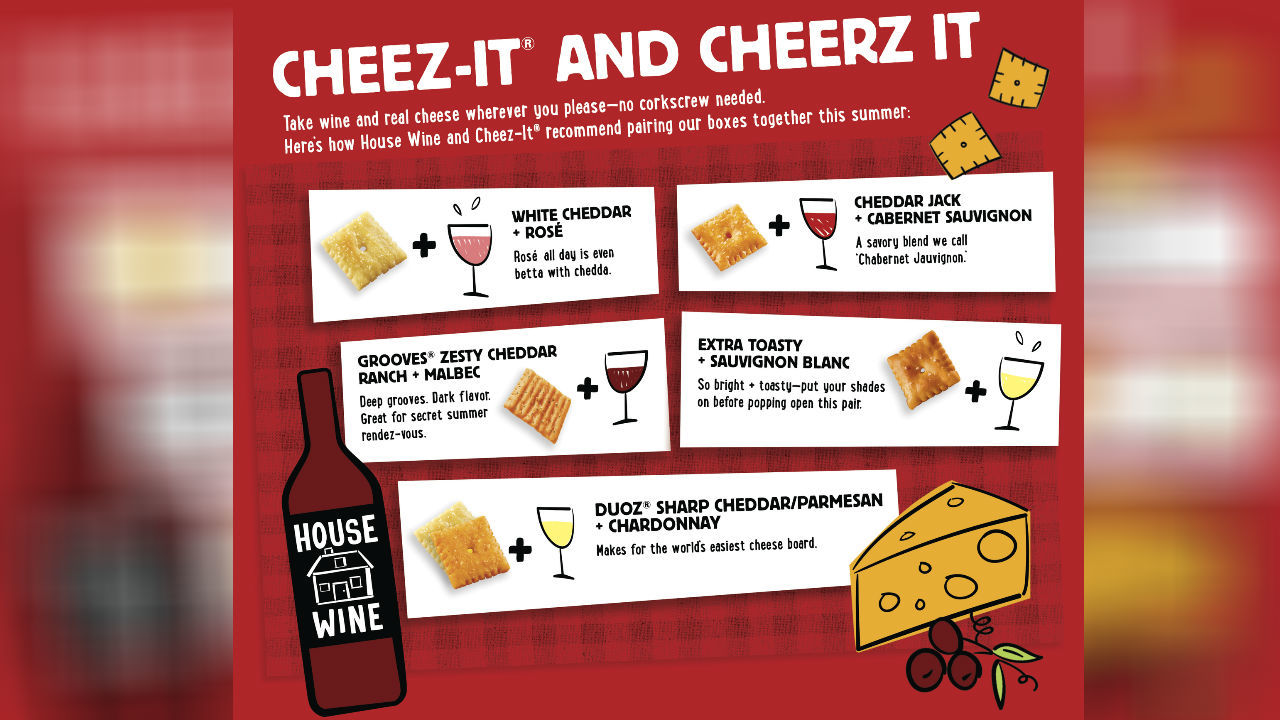In addition to the boxed product, Cheez-Itand House Wine curated custom pairings for a variety of tastes. To bring out the real cheese notes inside more Cheez-Itflavors, the brands recommend varietals to pair including: Original & Red Blend, White Cheddar & Rosé, Extra Toasty & Sauvignon Blanc and more.House Wine's winemakerHal Landvoigt hand-selected the pairings through various taste tests and his own expert process. He encourages individuals to listen to their personal preferences and enjoy the wine and Cheez-It pairings that speak most to them. (Photo: Kellogg)