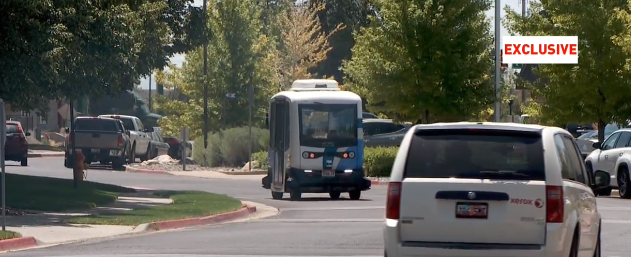 The first injury has been reported on Utah's new driverless shuttle. Gene Petrie, 76, was thrown from his seat Tuesday when the autonomous shuttle came to a sudden stop. (Photo: KUTV)