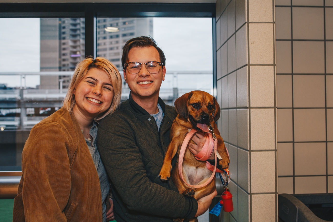 Mabel with humans Alexia Arias and Ian Measures / Image: Catherine Viox // Published: 3.21.19