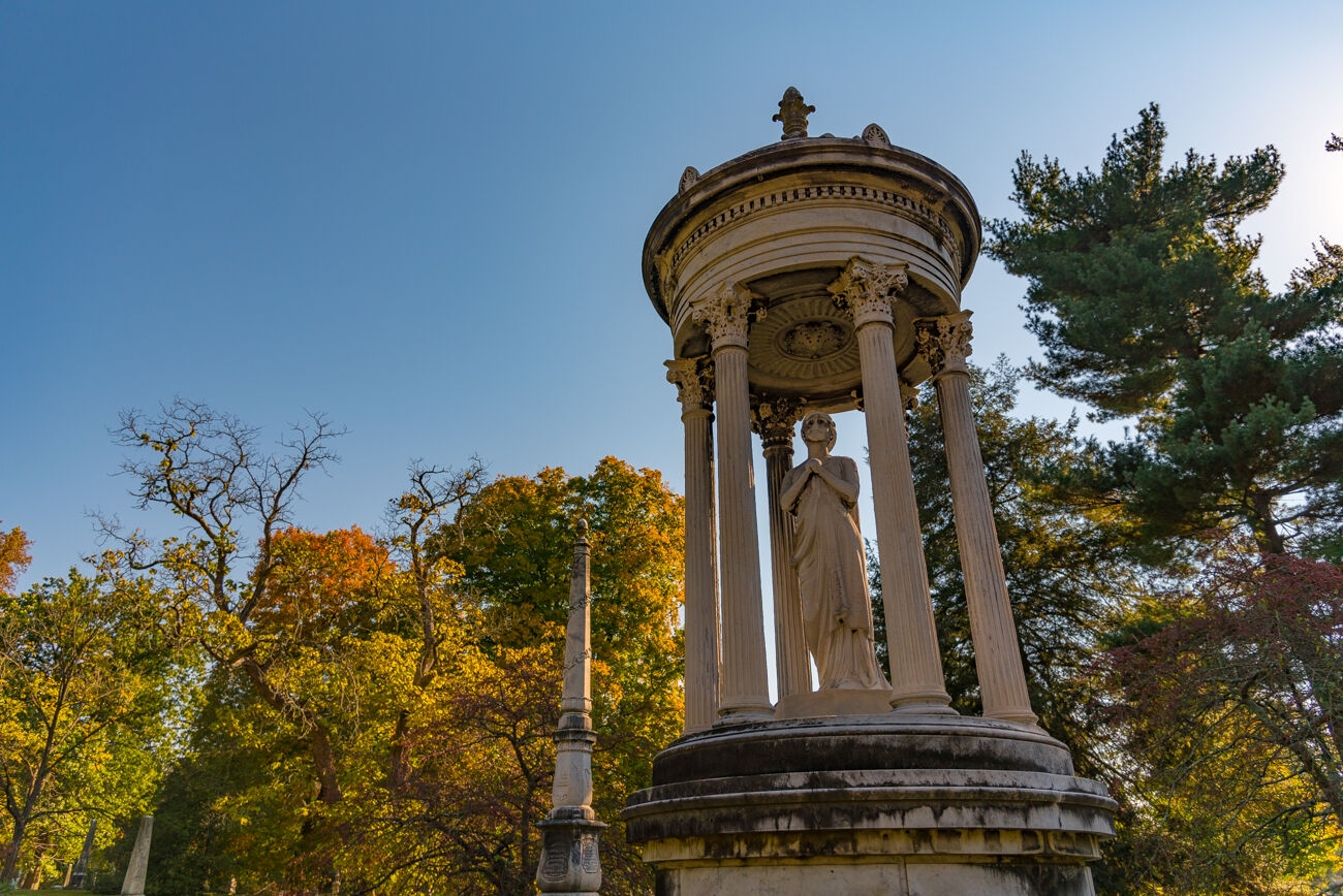 PLACE: Spring Grove Cemetery / ADDRESS: 4521 Spring Grove Avenue (Northside) / Folklore of ghosts roaming a cemetery isn't too shocking to picture, but Spring Grove Cemetery is surely worth mentioning on the topic of eerie encounters. The beautiful cemetery is one of the largest in the country, filled with scenic nature, sculptures, and monuments to the deceased. / Image: Phil Armstrong, Cincinnati Refined // Published: 10.17.20