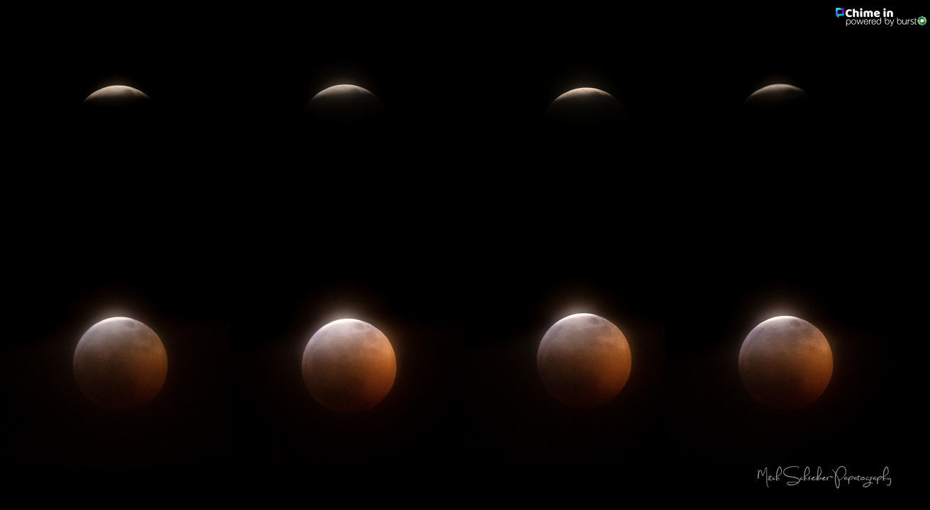 'The Super Blood Wolf Moon Eclipse of 2019 - The Clouds parted for a few minutes here in Clackamas!I got a few shots in! Images By Mitch Schreiber'
