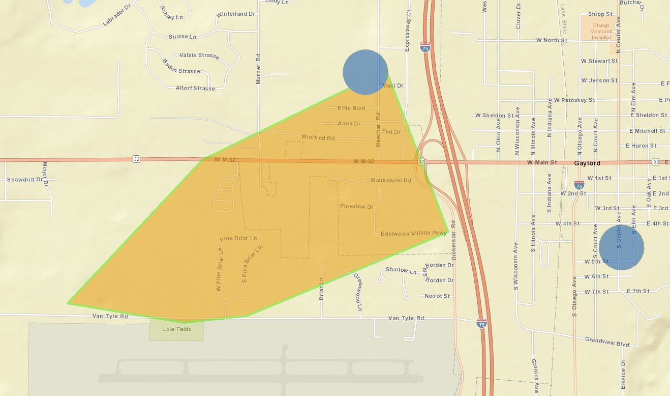 More than 300 people in the area of M-32 at Edelweiss Village and Mankowski Road are without power due to downed power lines. (Consumers Energy)